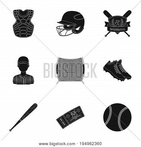 Ball, helmet, bat, uniform and other baseball attributes. Baseball set collection icons in black style vector symbol stock illustration .