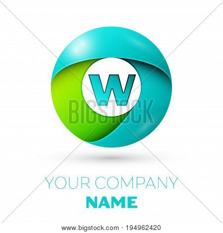 Realistic letter W vector logo symbol in the colorful circle on white background. Vector template for your design