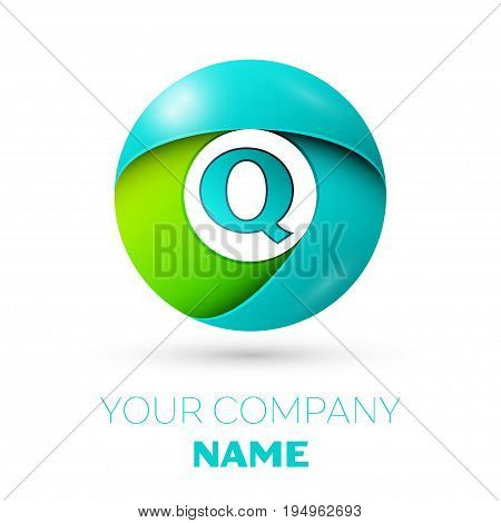 Realistic letter Q vector logo symbol in the colorful circle on white background. Vector template for your design