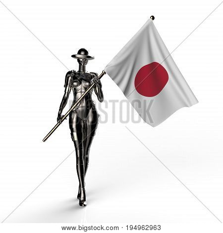 3D illustration. The stylish cyborg the woman with flag of Japan. Futuristic fashion android.