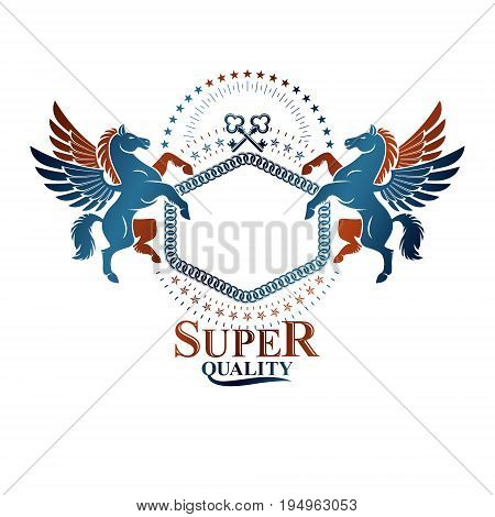 Graphic vintage emblem composed with winged Pegasus ancient animal element keys and pentagonal stars. Heraldic vector design element. Retro style label heraldry logo.