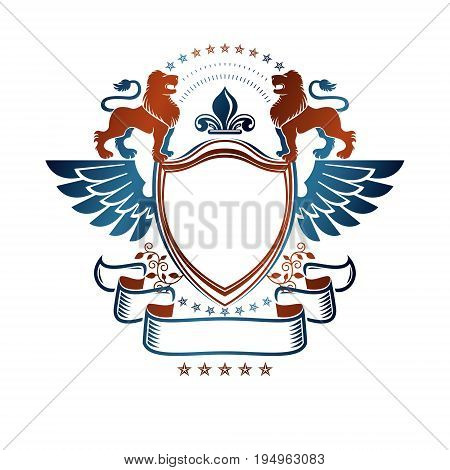 Graphic emblem with Lion heraldic animal element and lily flower. Heraldic Coat of Arms decorative logo isolated vector illustration.