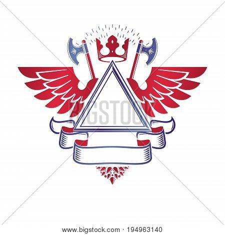 Graphic winged emblem created with ancient Crown and hatchets. Heraldic vector design element decorated with elegant ribbon. Retro style label heraldry logo.