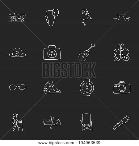 Set Of 16 Editable Camping Icons. Includes Symbols Such As Eyeglasses, Medical Kit, Carabine And More. Can Be Used For Web, Mobile, UI And Infographic Design.