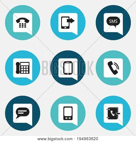 Set Of 9 Editable Gadget Icons. Includes Symbols Such As Call, Tablet, Message And More. Can Be Used For Web, Mobile, UI And Infographic Design.