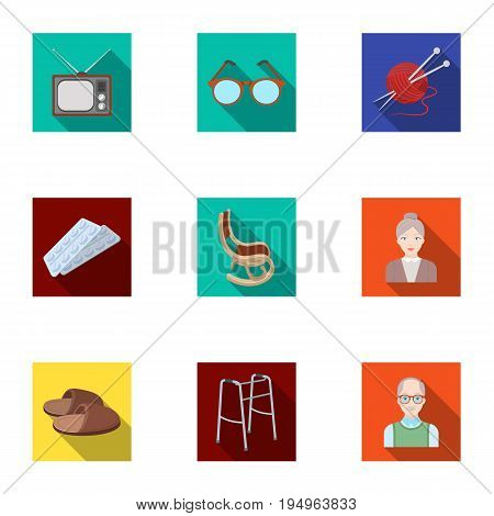 Armchair, slippers, tonometer and other attributes of old age.Old age set collection icons in flat style vector symbol stock illustration .