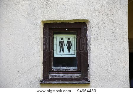 Toilet sign . Male and female WC.