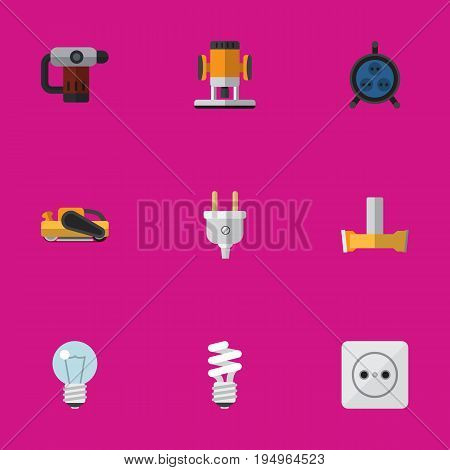 Set Of 9 Editable Electrical Icons. Includes Symbols Such As Orifice, Rosette, Lightbulb And More. Can Be Used For Web, Mobile, UI And Infographic Design.