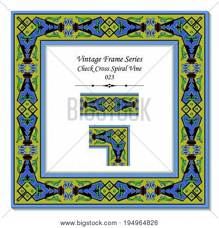 Vintage Frame Of Retro Check Cross Spiral Vine