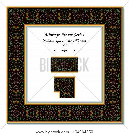 Vintage Frame Of Retro Nature Spiral Cross Flower