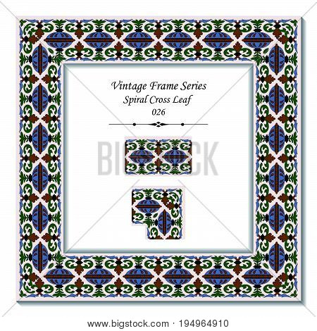 Vintage Frame Of Retro Spiral Cross Leaf
