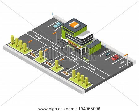 Government building isometric composition of shopping center building and parking lot area with road marking and arrows vector illustration