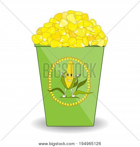 Cup of hot boiled corn with cute label. Corn in paper glass with a happy corn man emblem. White background.