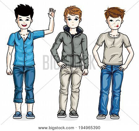 Child young teen boys group standing wearing different casual clothes. Vector diversity kids illustrations set.
