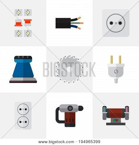 Set Of 9 Editable Electrical Icons. Includes Symbols Such As Wire, Rosette, Inserting Nails And More. Can Be Used For Web, Mobile, UI And Infographic Design.