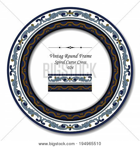 Vintage Round Retro Frame Of Retro Blue Spiral Curve Cross