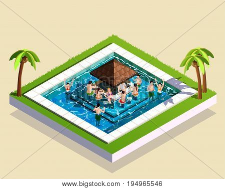 Young friends having fun in water park swimming pool with bar in middle 3d isometric vector illustration