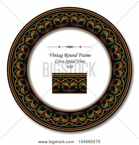 Vintage Round Retro Frame Of Retro Garden Cross Spiral Vine