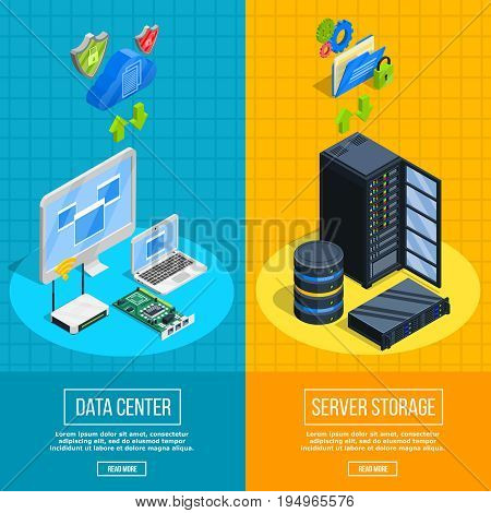 Set of two vertical datacenter banners with isometric client and server side equipment images vector illustration