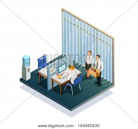 Isometric recruitment people working at office 3d vector illustration