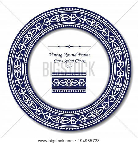 Vintage Round Retro Frame Of Retro Blue Cross Spiral Check