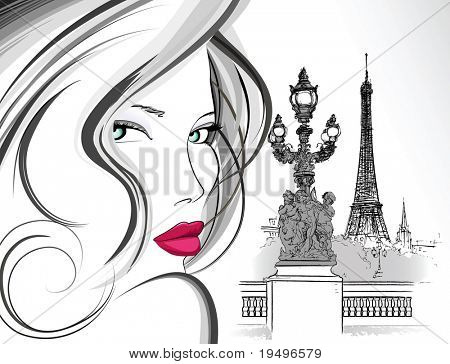 Vector illustration of woman on Alexander bridge in Paris (ink pen drawing)