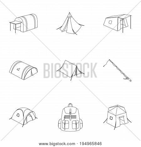 Various kinds of tents and other tourist accessories. The tent set collection icons in outline style vector symbol stock illustration .