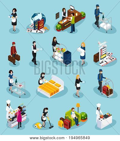Colored hotel service isometric icon set providing successful customer service for guest experience vector illustration