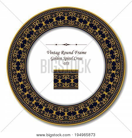 Vintage Round Retro Frame Of Retro Golden Spiral Cross