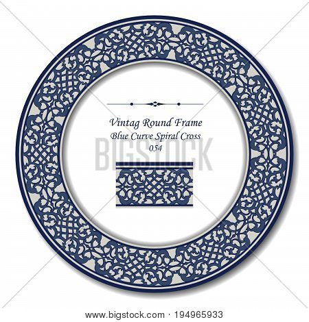 Vintage Round Retro Frame Of Retro Blue Curve Spiral Cross