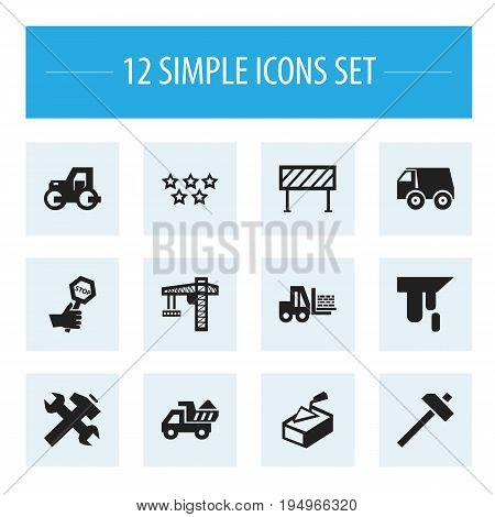 Set Of 12 Editable Building Icons. Includes Symbols Such As Spatula, Barrier, Renovation And More. Can Be Used For Web, Mobile, UI And Infographic Design.
