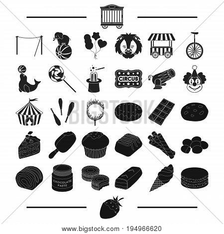 strawberry, goodies, entertainment and other  icon in black style.bar, horn, pie, icons in set collection