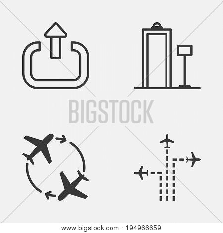 Travel Icons Set. Collection Of Flight Path, Security Scanner, Fly Around And Other Elements. Also Includes Symbols Such As Metal, Security, Trip.