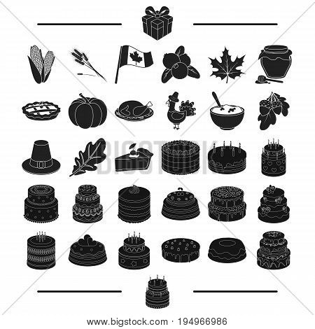 celebration, cooking, vegetables and other  icon in black style.biscuit, dessert, delicacy icons in set collection.