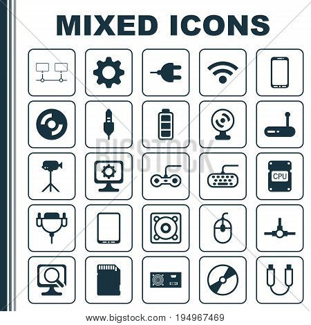 Computer Icons Set. Collection Of Joystick, Connector, Portable Memory And Other Elements. Also Includes Symbols Such As Cursor, Modem, Chip.
