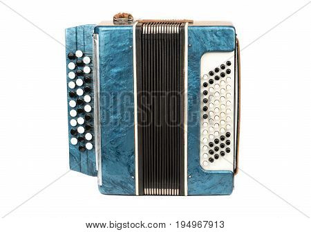 Old musical instrument bayan accordion isolated on white background