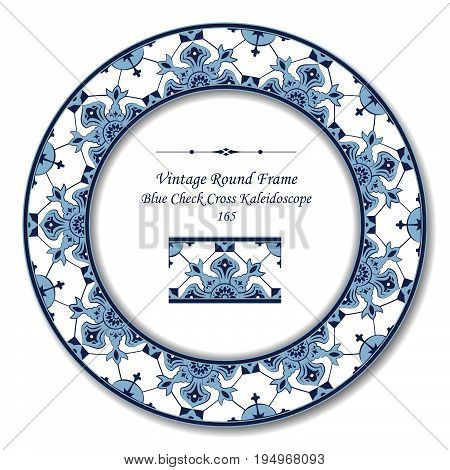 Vintage Round Retro Frame Of Retro Blue Check Cross Kaleidoscope