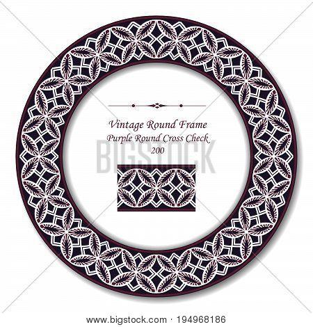 Vintage Round Retro Frame Of Purple Round Cross Check