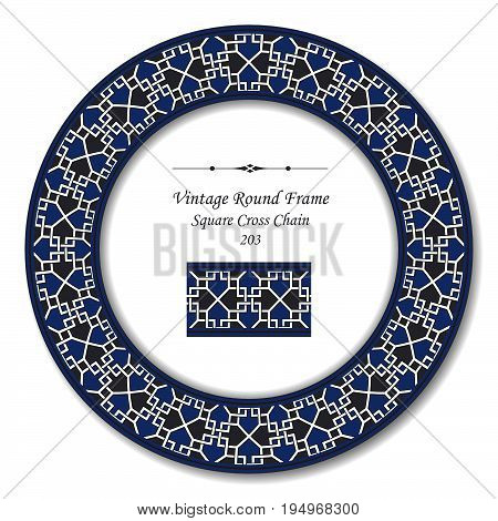 Vintage Round Retro Frame Of Retro Square Cross Chain