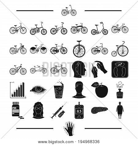 trip, rest, sport and other  icon in black style.diseases, medicine, treatment, icons in set collection
