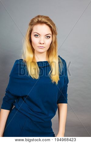 Portrait Blonde Young Woman Having Serious Face Expression