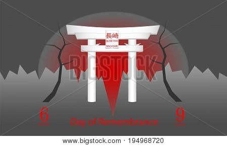 Day of Remembrance of the Victims of the Atomic Bombardment of Hiroshima and Nagasaki / illustration / vector