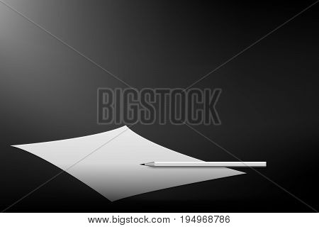 vector beautiful monochrome, white paper with pencil for writing letter on dark background