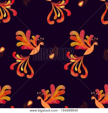 Seamless fairy Firebird pattern. Vector background with flying flaming Phoenix.