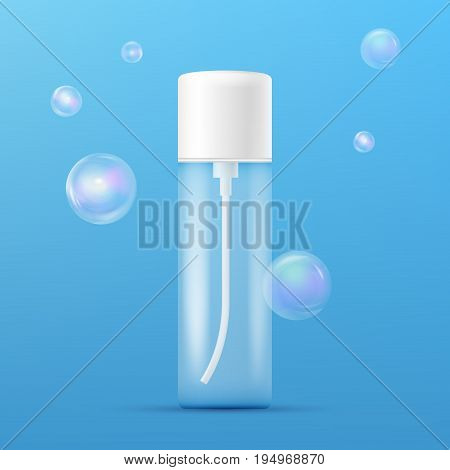 Clean plastic bottle template with dispenser for deodorant, soap, shampoo, shower gel, lotion, body milk and realistic transparent colorful soap bubbles. Ready for your design. Packaging collection