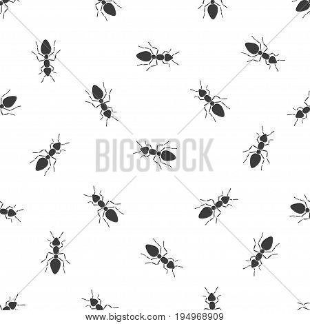 Black and white vector seamless pattern with ants