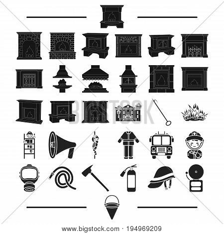 clothing, construction, decoration and other  icon in black style. core, protection, tools icons in set collection.