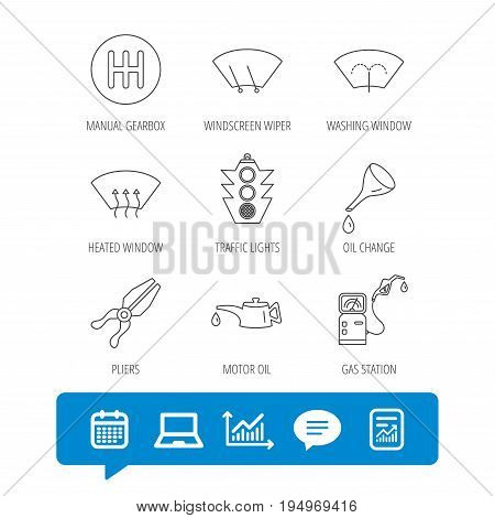 Motor oil change, traffic lights and pliers icons. Gas station, heated window and manual gearbox linear signs. Washing window icons. Report file, Graph chart and Chat speech bubble signs. Vector