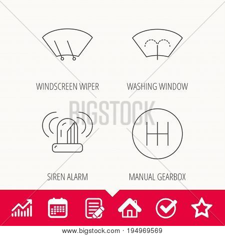 Manual gearbox, siren alarm and washing window icons. Windscreen wiper linear sign. Edit document, Calendar and Graph chart signs. Star, Check and House web icons. Vector