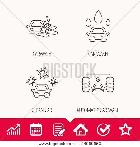 Car wash icons. Automatic cleaning station linear signs. Clean car, automatic carwash flat line icons. Edit document, Calendar and Graph chart signs. Star, Check and House web icons. Vector